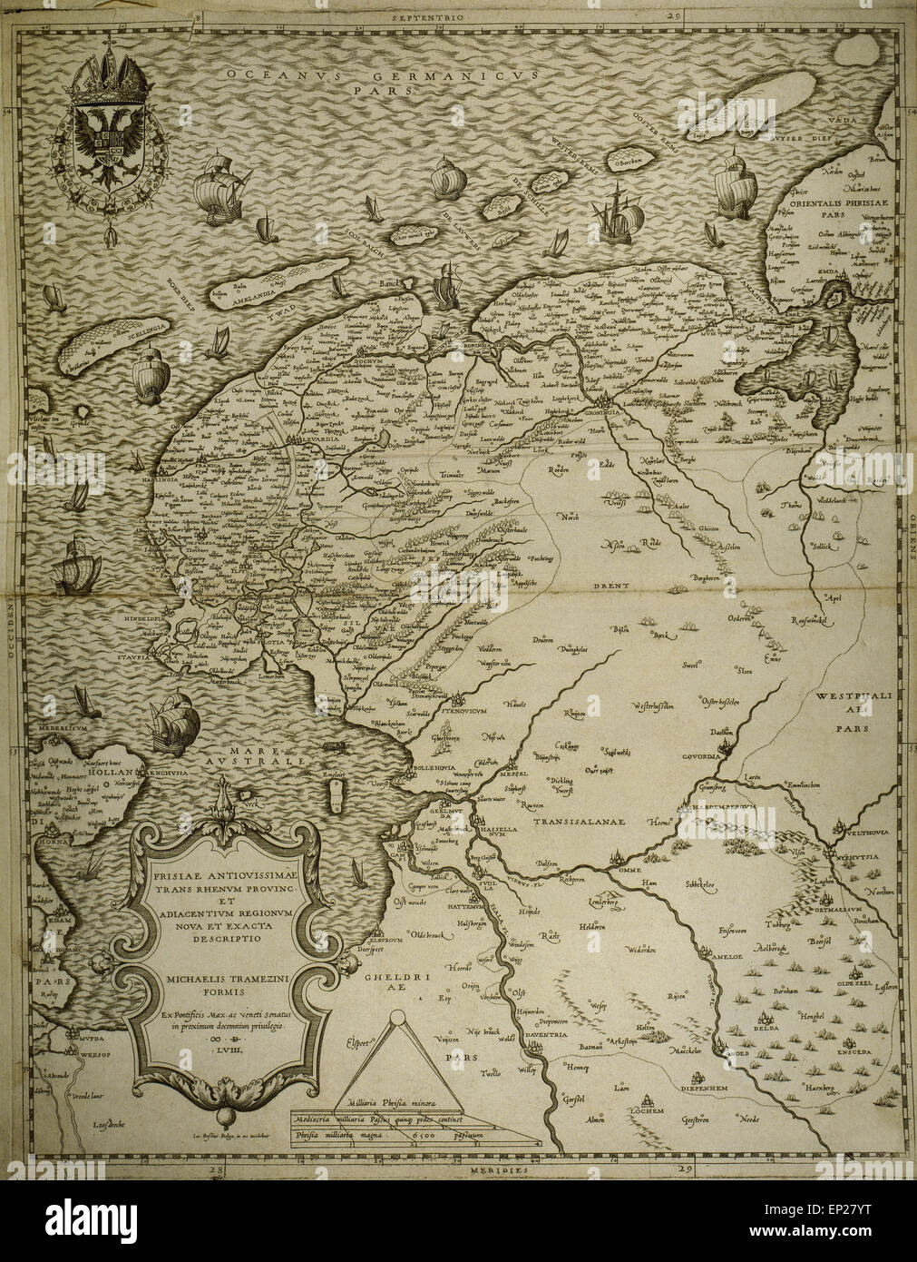 Friesland. Map of North of Netherlands. Made by Michaelis Tramezini, 1558. Printed by Iacobus Bossius. - Stock Image