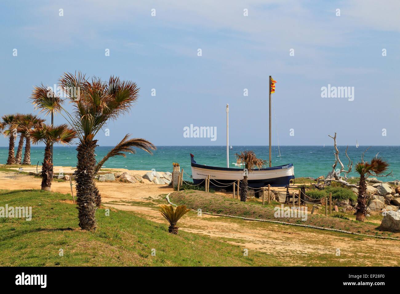 Beach of Vilassar de Mar, near Barcelona, Spain - Stock Image