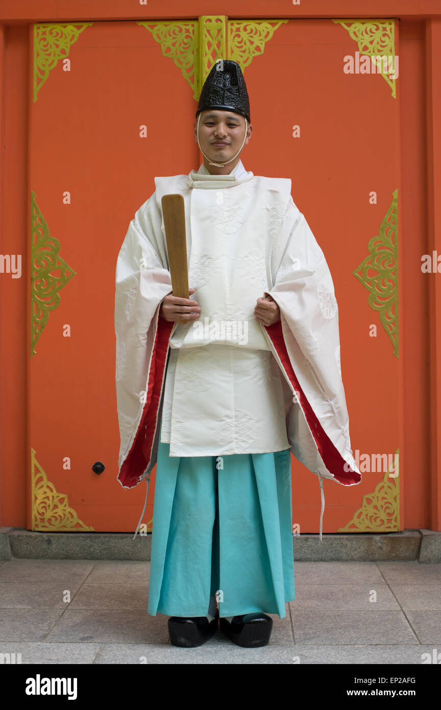 Shinto Priest at Sumiyoshi Shrine ( Shinto ) Fukuoka, Kyushu, Japan - Stock Image