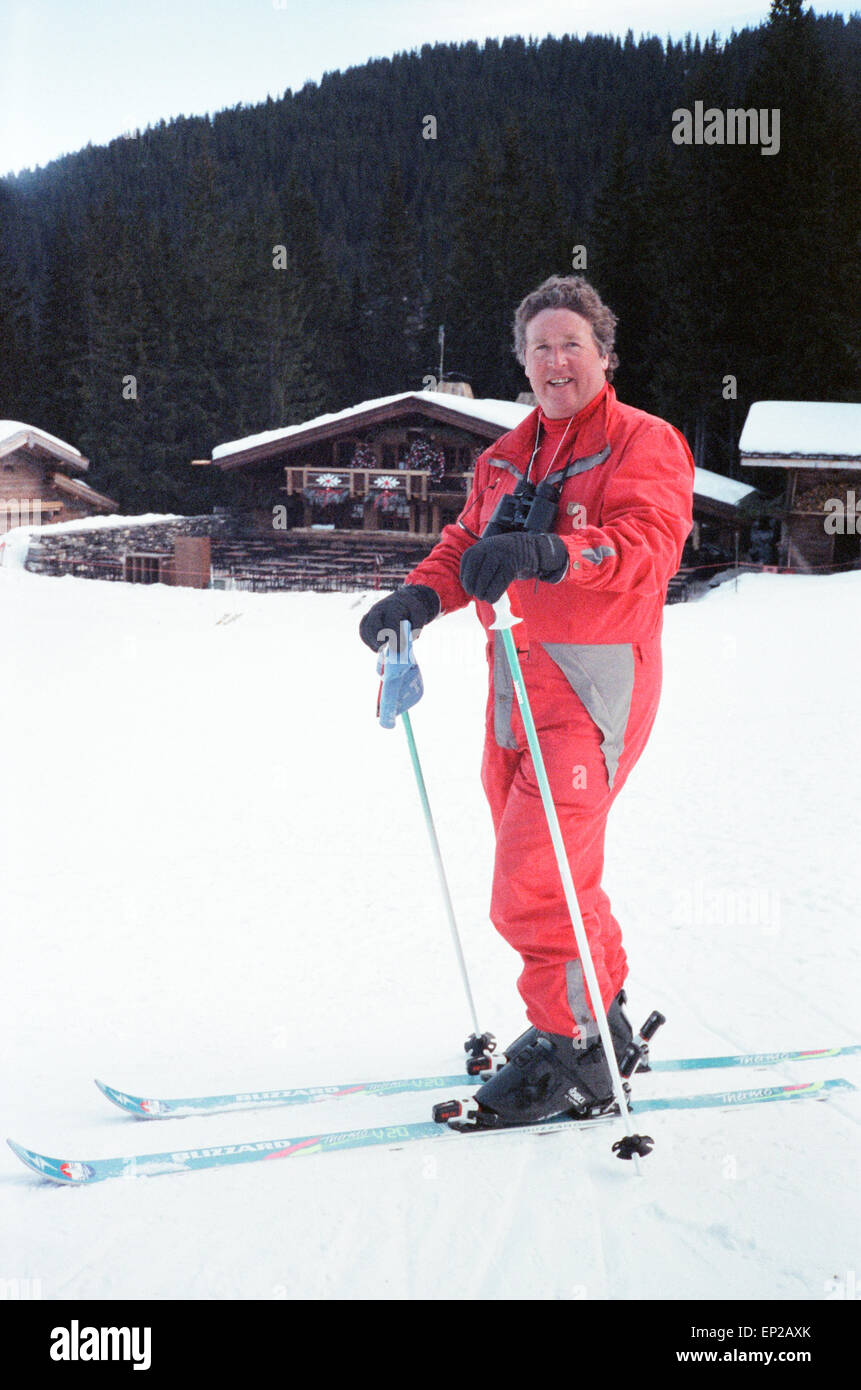 James Whitaker Daily Mirror Royal Correspondent seen here on skis whilst reporting of the Duchess of Yorks holiday - Stock Image
