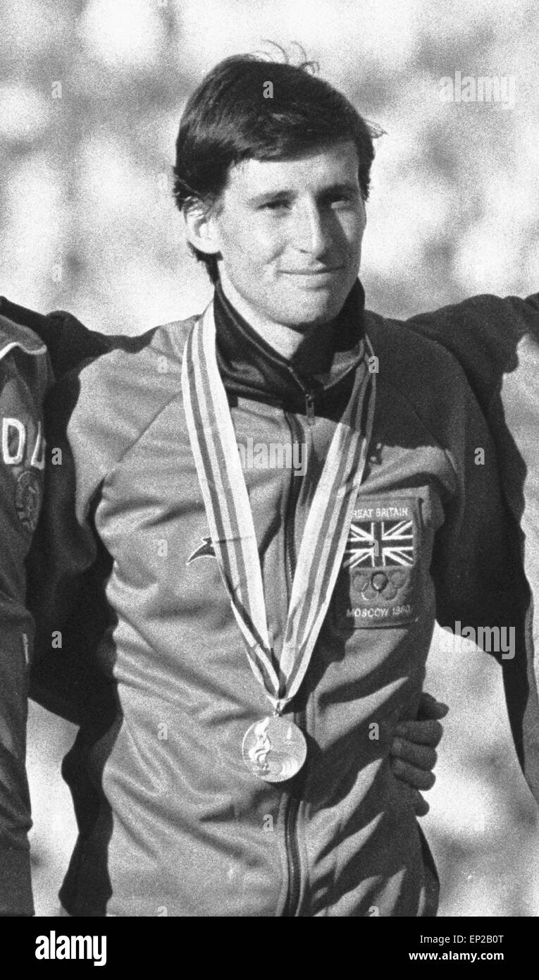 Seb Coe winner of the 1500 metre at the 1980 Moscow Olympic Games seen here with JŸrgen Straub (left) and Steve - Stock Image