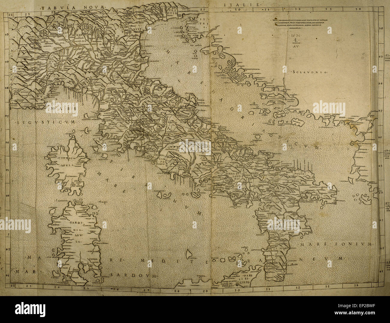 Map of Italian Peninsula, Islands of Corsica and Sardinia and Adriatic coast. Engraving. 16th century. - Stock Image