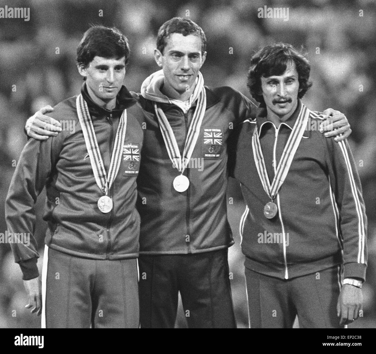 Steve Ovett winner of the 800 metre at the 1980 Moscow Olympic Games during the medal ceremony at the Olympic stadium - Stock Image