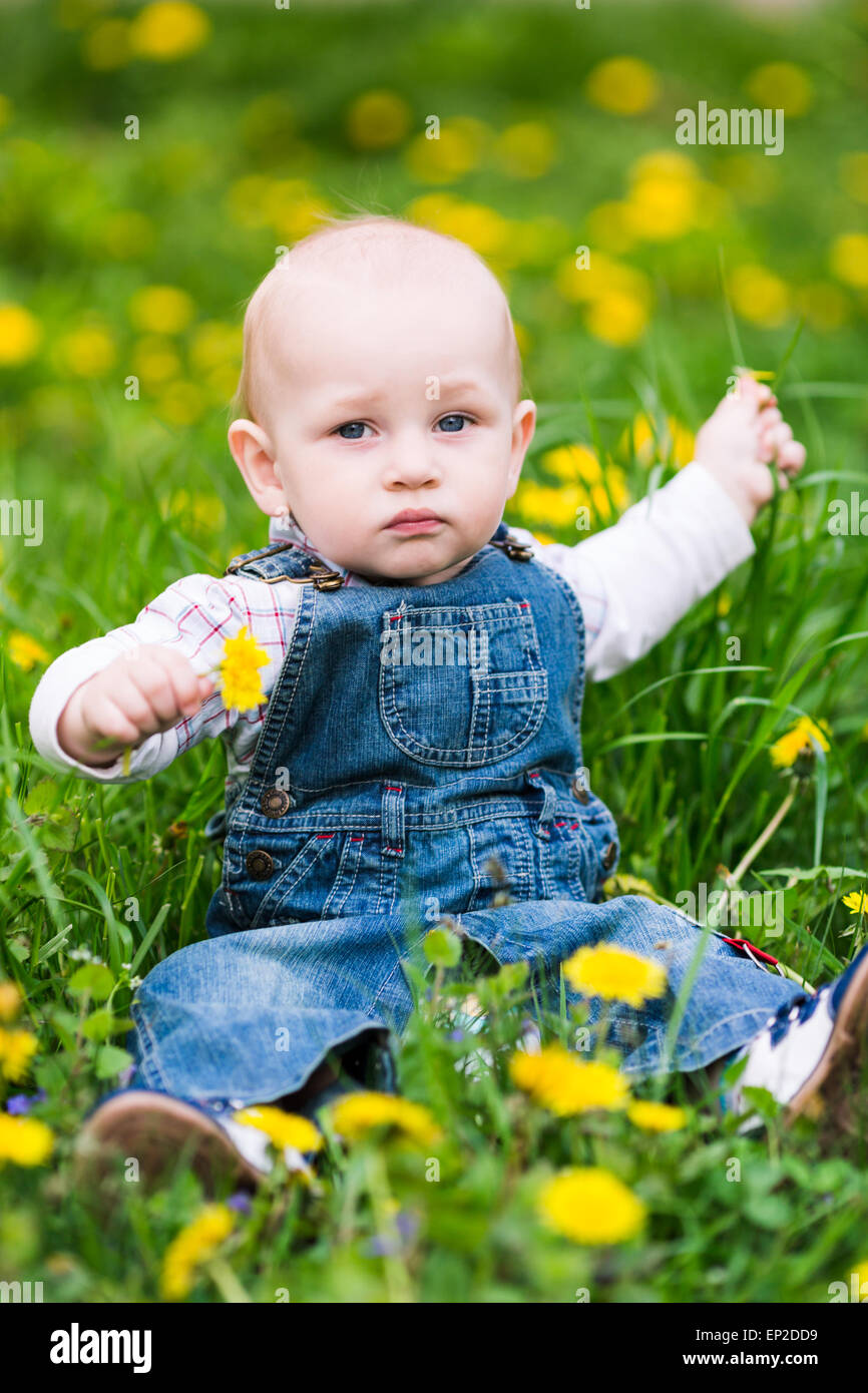 Cute baby boy sitting on a lawn with dandelions summertime Stock ...
