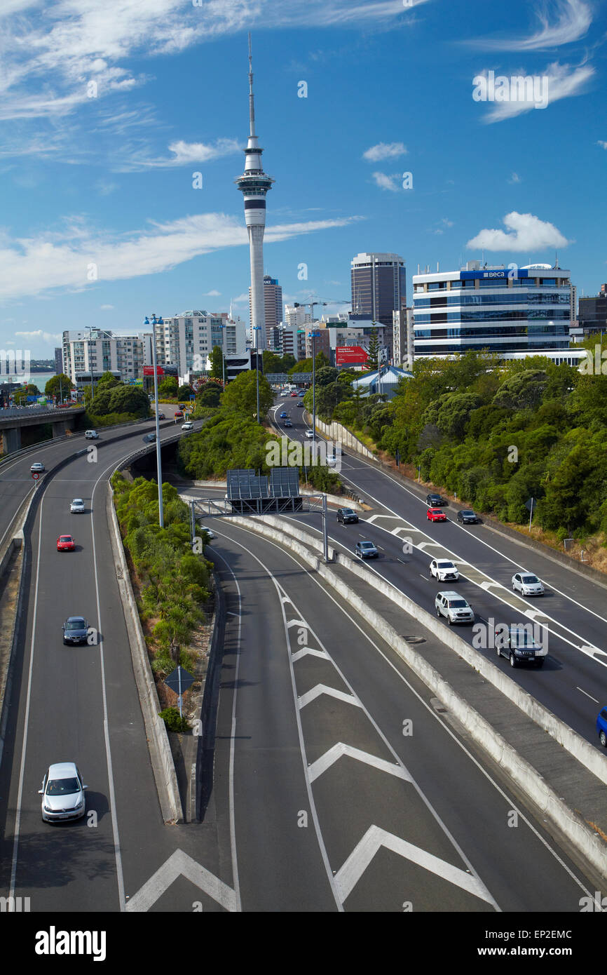 Motorways and Skytower, Auckland, North Island, New Zealand - Stock Image