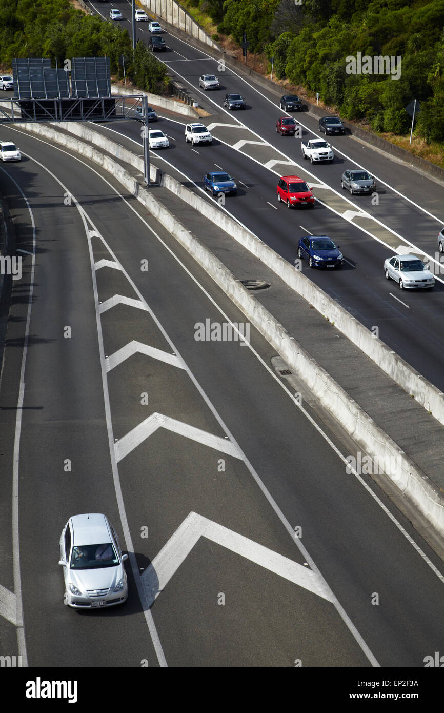 Traffic on motorways, Central Auckland, North Island, New Zealand Stock Photo