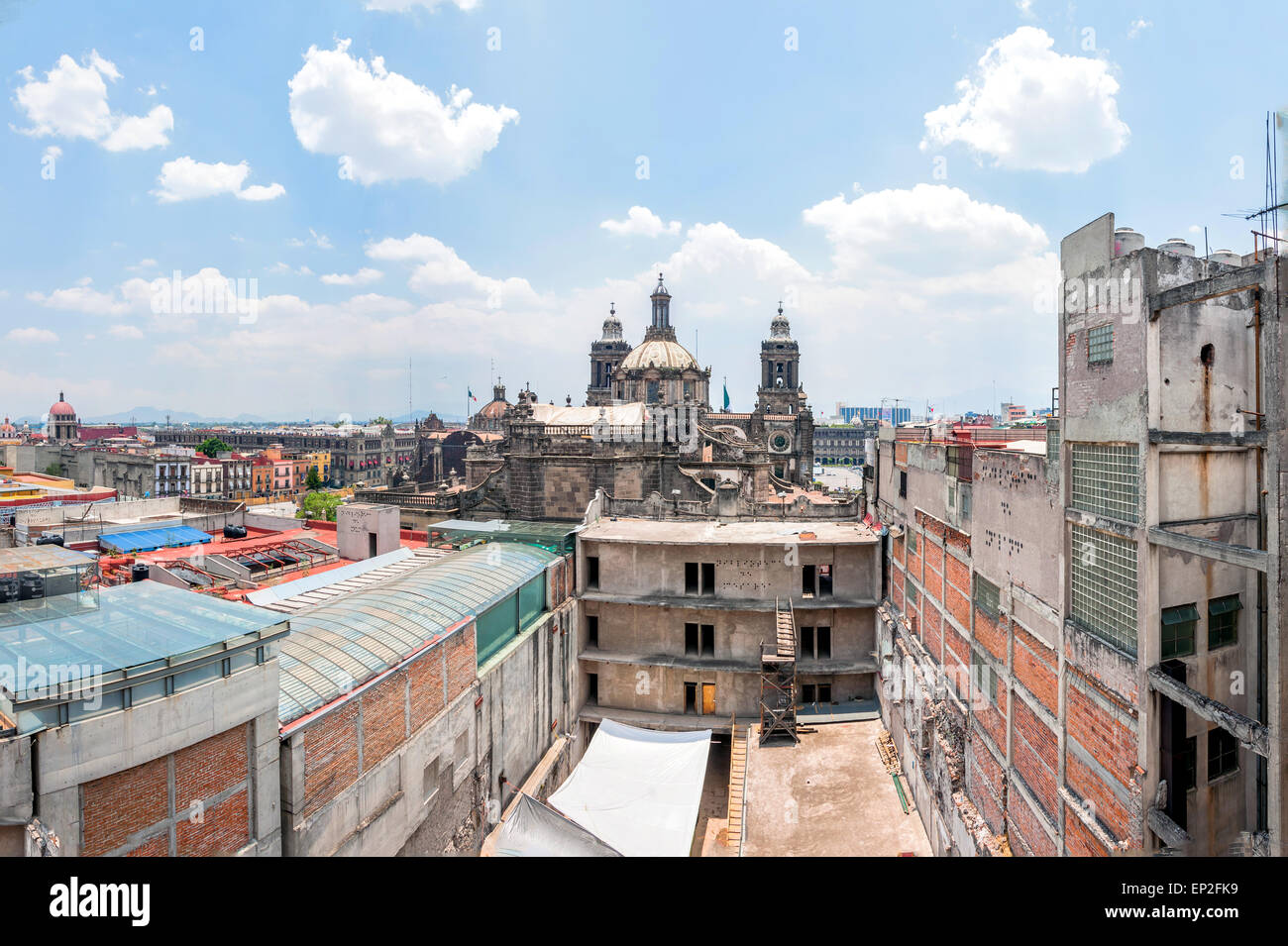 day view of Mexico City zocalo from roofs - Stock Image