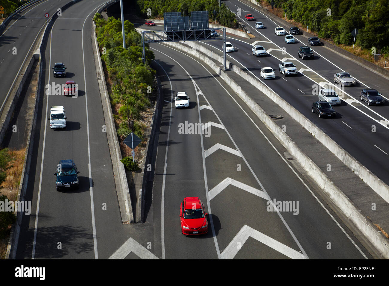 Traffic on motorways, Central Auckland, North Island, New Zealand - Stock Image