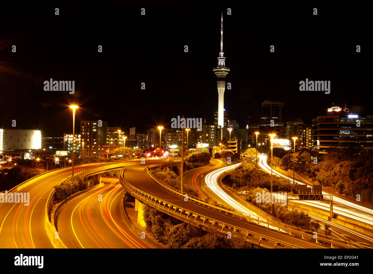 Motorways and Skytower, Auckland, North Island, New Zealand Stock Photo