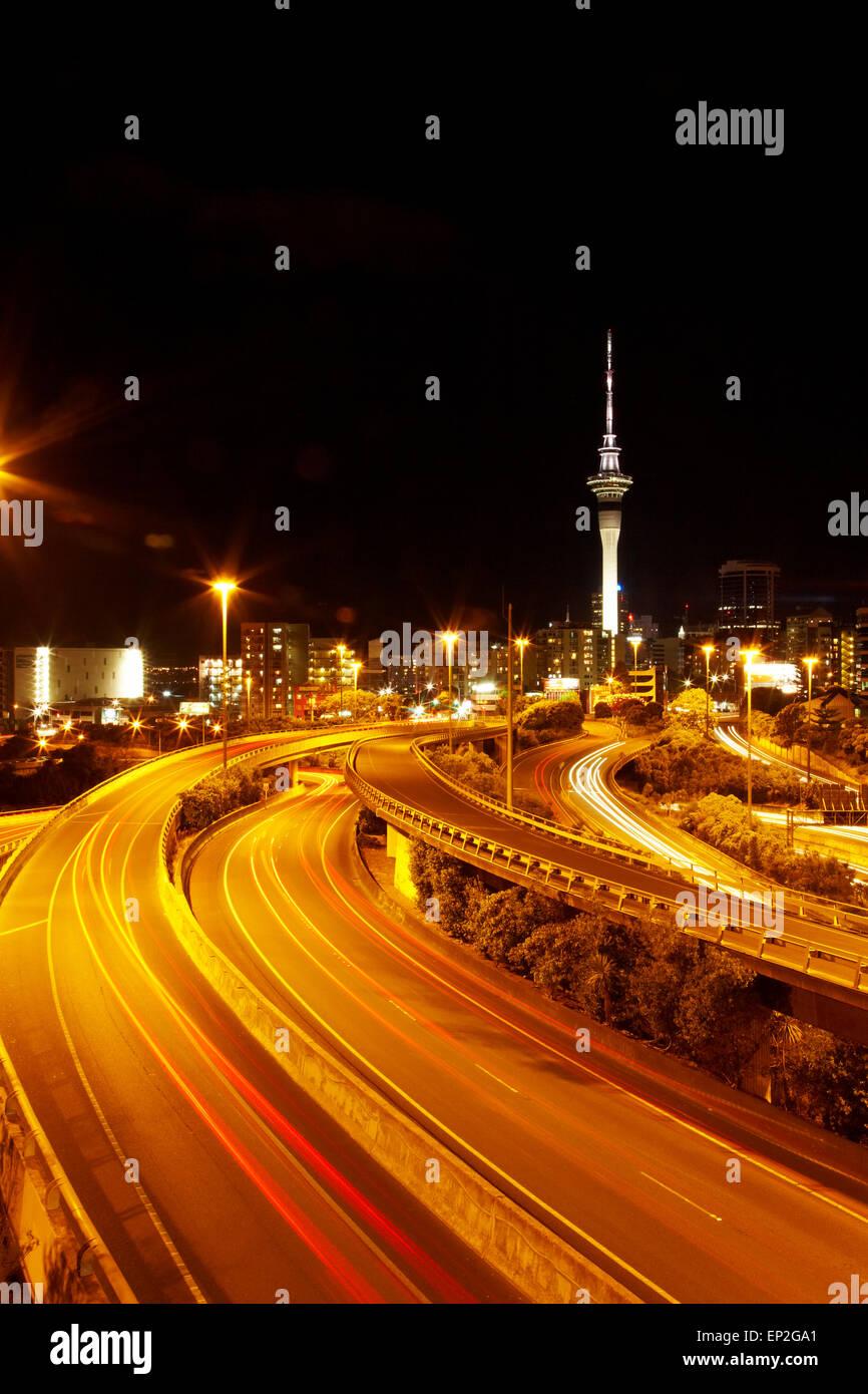Motorways and Skytower, Auckland, North Island, New Zealand Stock Photo