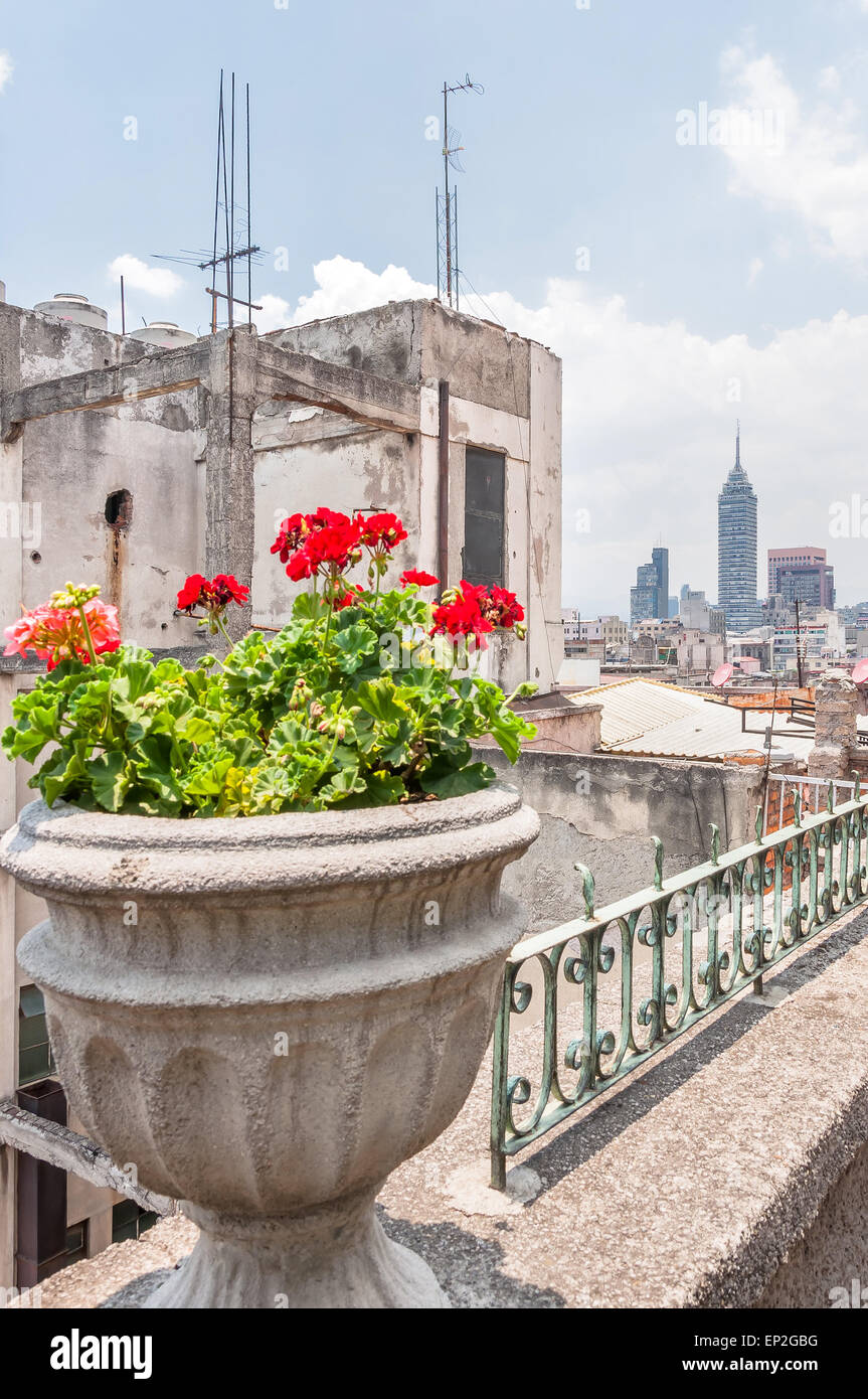 MEXICO CITY, MEXICO - APRIL 29, 2014: day view of downtown skyscrapers from zocalo roofs in Mexico City, Mexico. - Stock Image