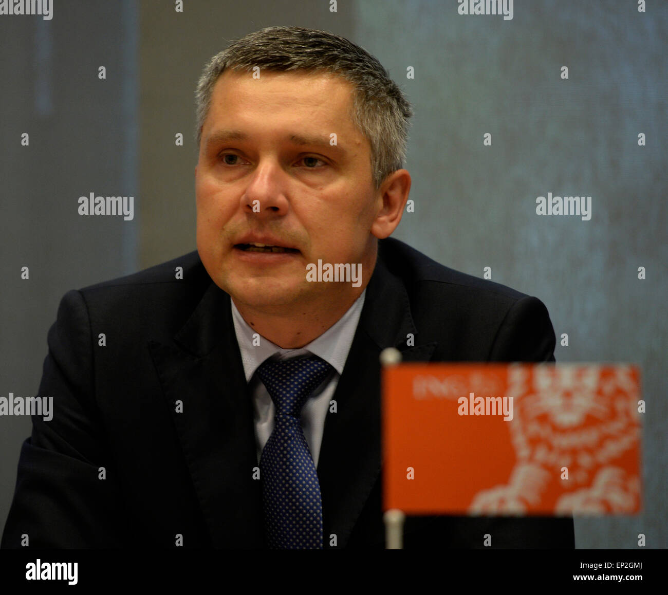 The Czech branch of ING Bank, one of minor financial institutions in the Czech Republic, showed net profit worth Stock Photo