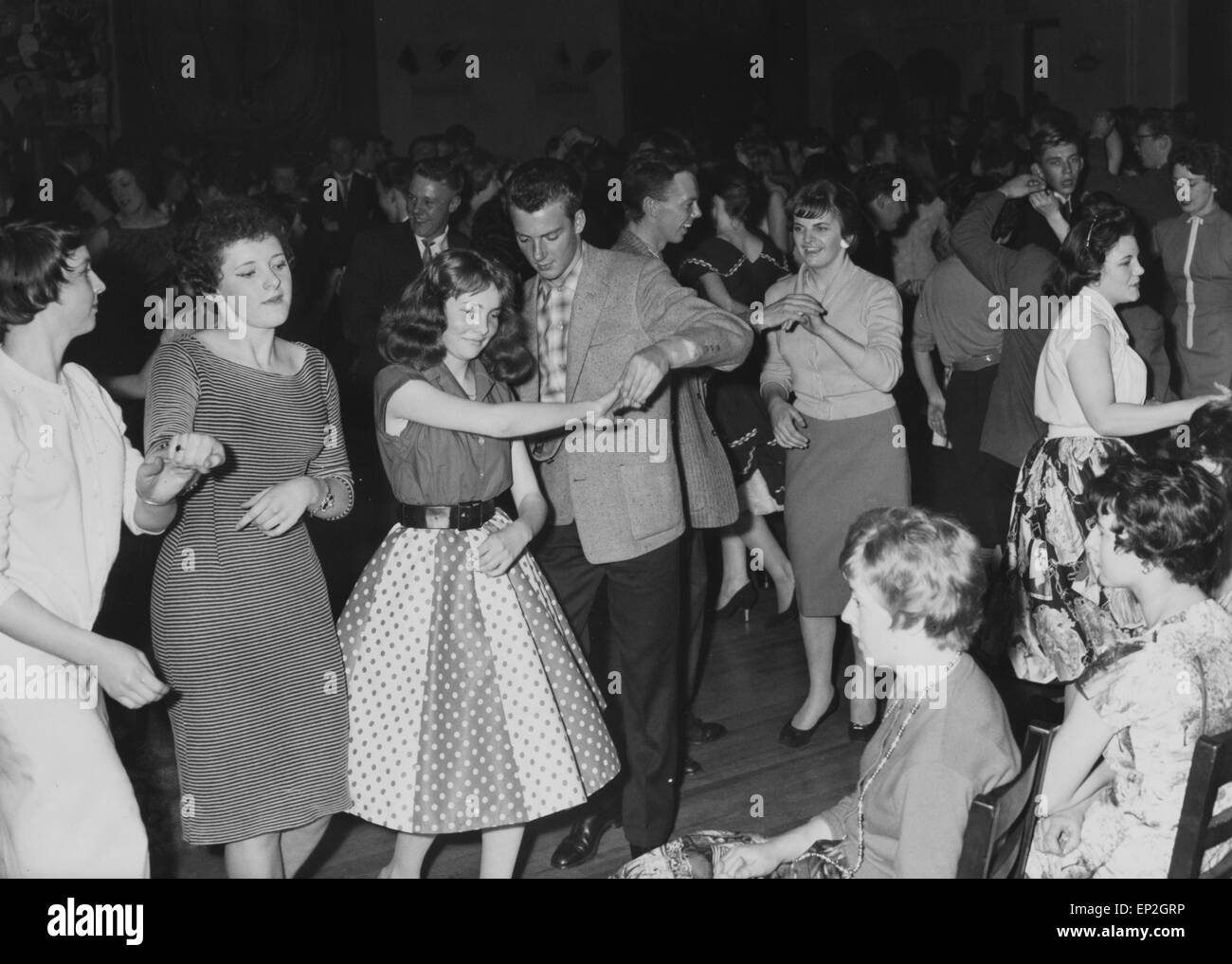 The Mardi Gras opened its doors to merseyside teenagers on 28 September 1957. The club's walls were decorated - Stock Image