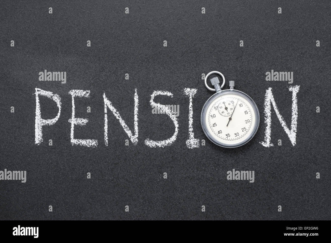 pension word handwritten on chalkboard with vintage precise stopwatch used instead of O - Stock Image
