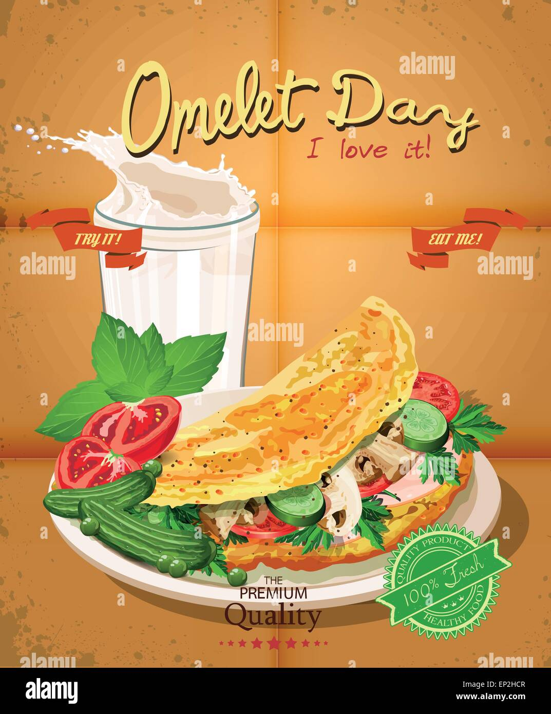 Omelet. Diet healthy food - scrambled eggs. Poster in vintage style - Stock Vector