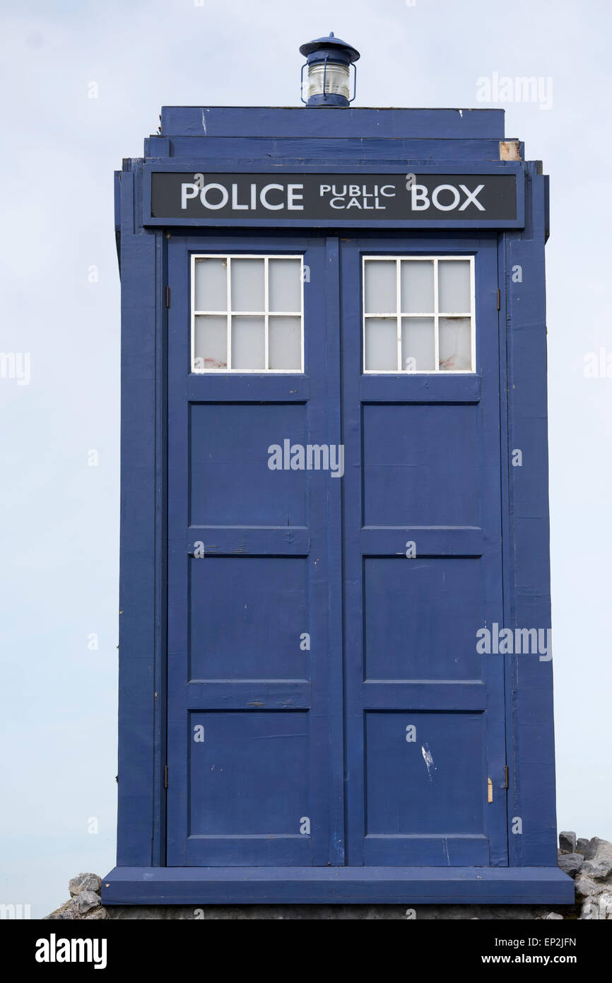A Tardis near the Doctor Who Experience at Cardiff Bay, Wales. - Stock Image