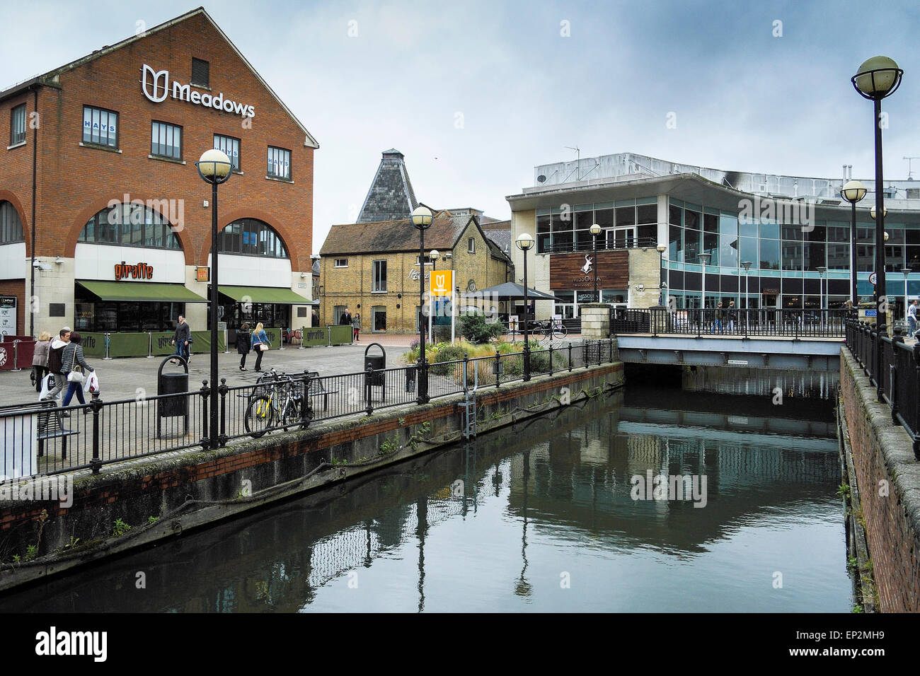 The River Chelmer running through Chelmsford City centre. Stock Photo