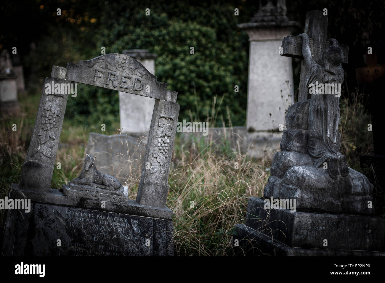Tower Hamlets Cemetery in the East End of London. Stock Photo