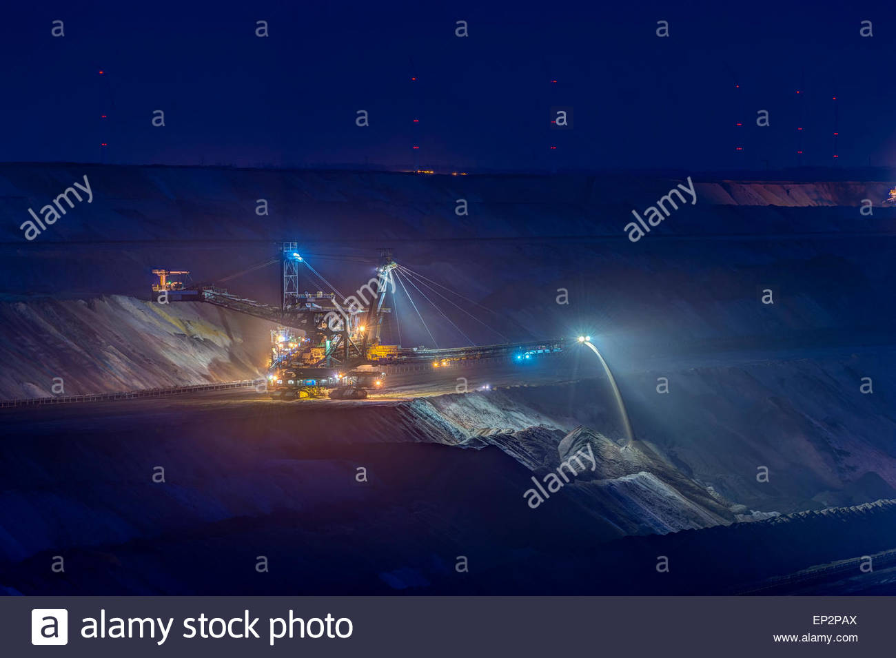 Germany, Juechen, lighted spreader at brown coal mining Garzweiler Stock Photo