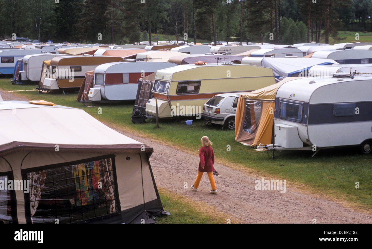 Tightly parked caravans at a Pentecostal meeting in south Sweden - Stock Image