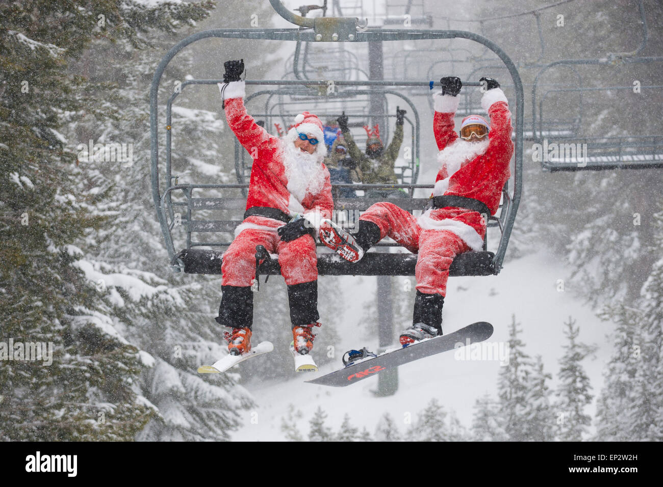 Santa ski day is a tradition at Mt. Rose Ski Tahoe, and other ski resorts in the Sierra Nevada mountains surrounding Stock Photo