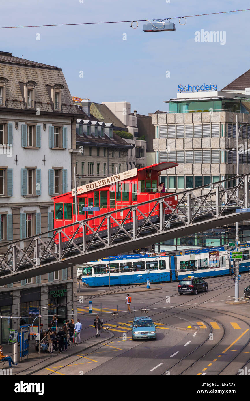Switzerland, Zurich, Central square with City cable car Stock Photo