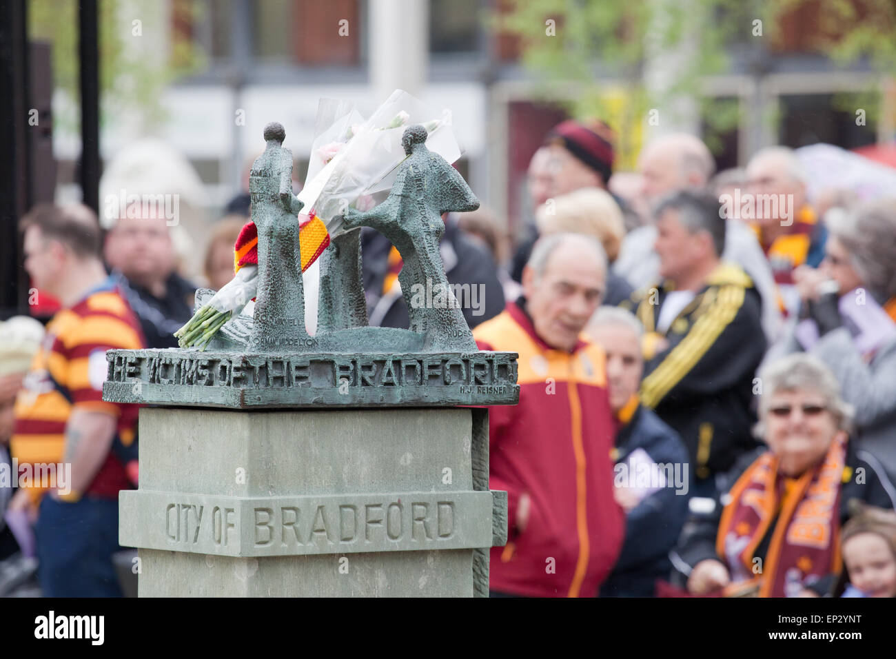 The memorial to those lost in the Bradford City fire disaster of 1986, seen during the memorial service in 2013. - Stock Image