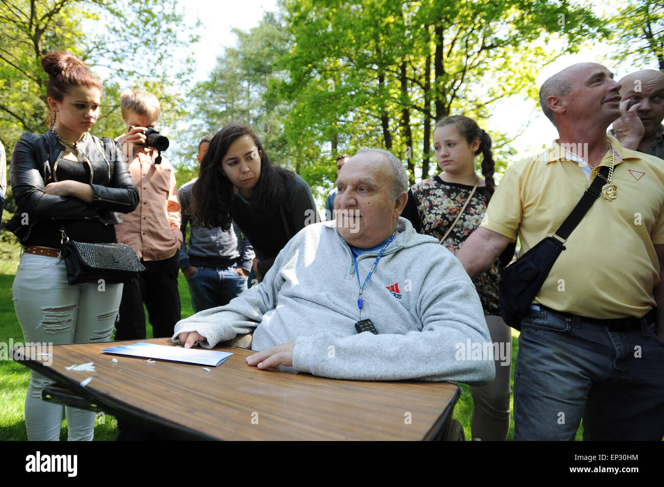 Meeting to commemorate Romany victims of Nazism at the burial place of inmates of wartime concentration camp for - Stock Image
