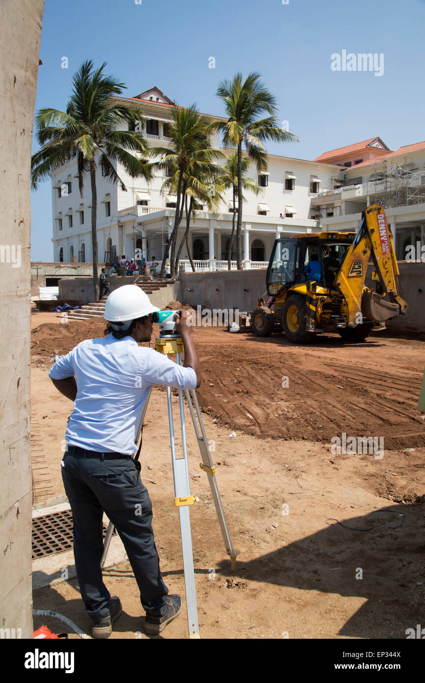 Male surveyor using theodolite construction site redevelopment of Galle Face hotel, Colombo, Sri Lanka, Asia - Stock Image
