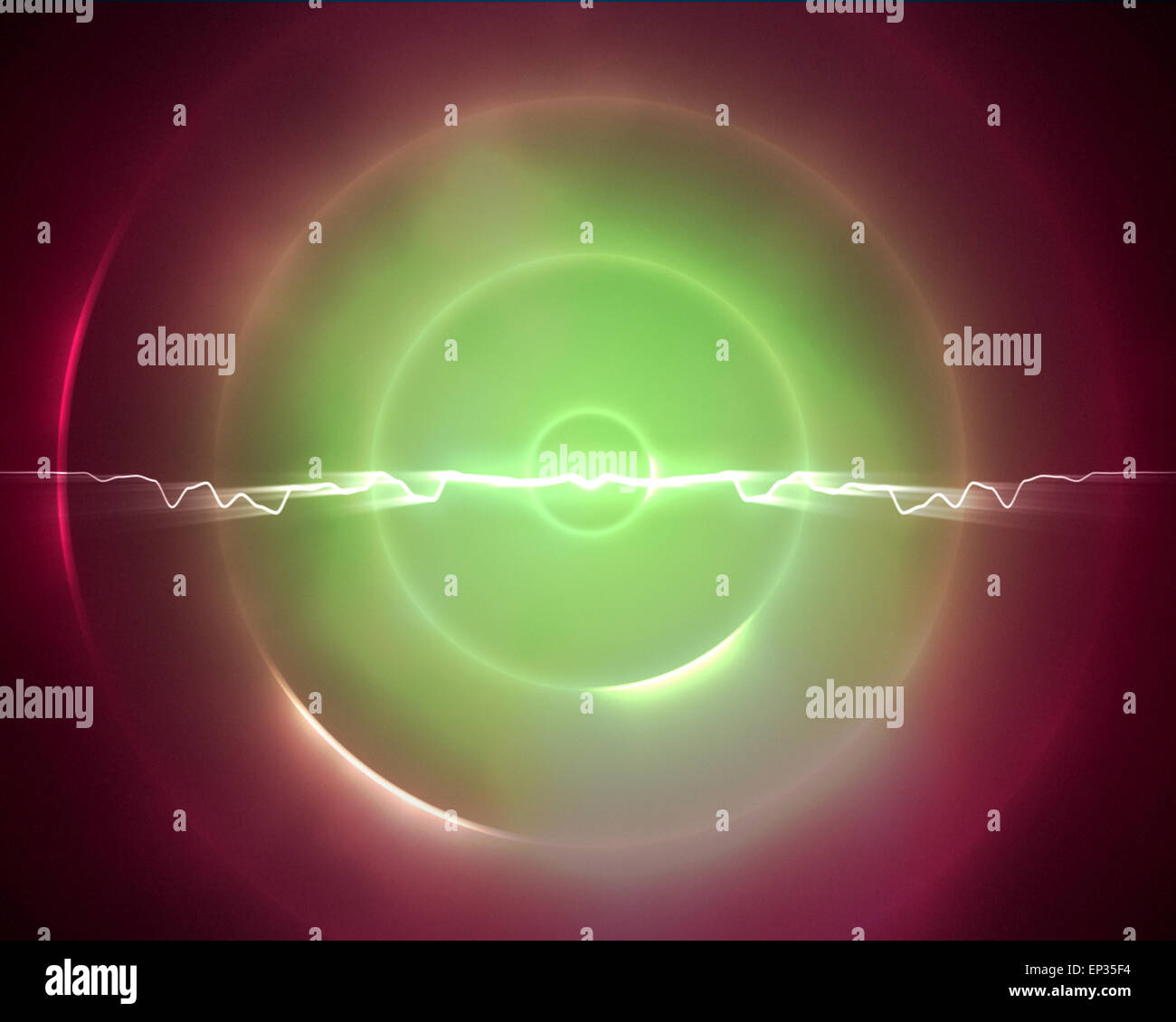 Green and pink circle with a lightning in the middle - Stock Image