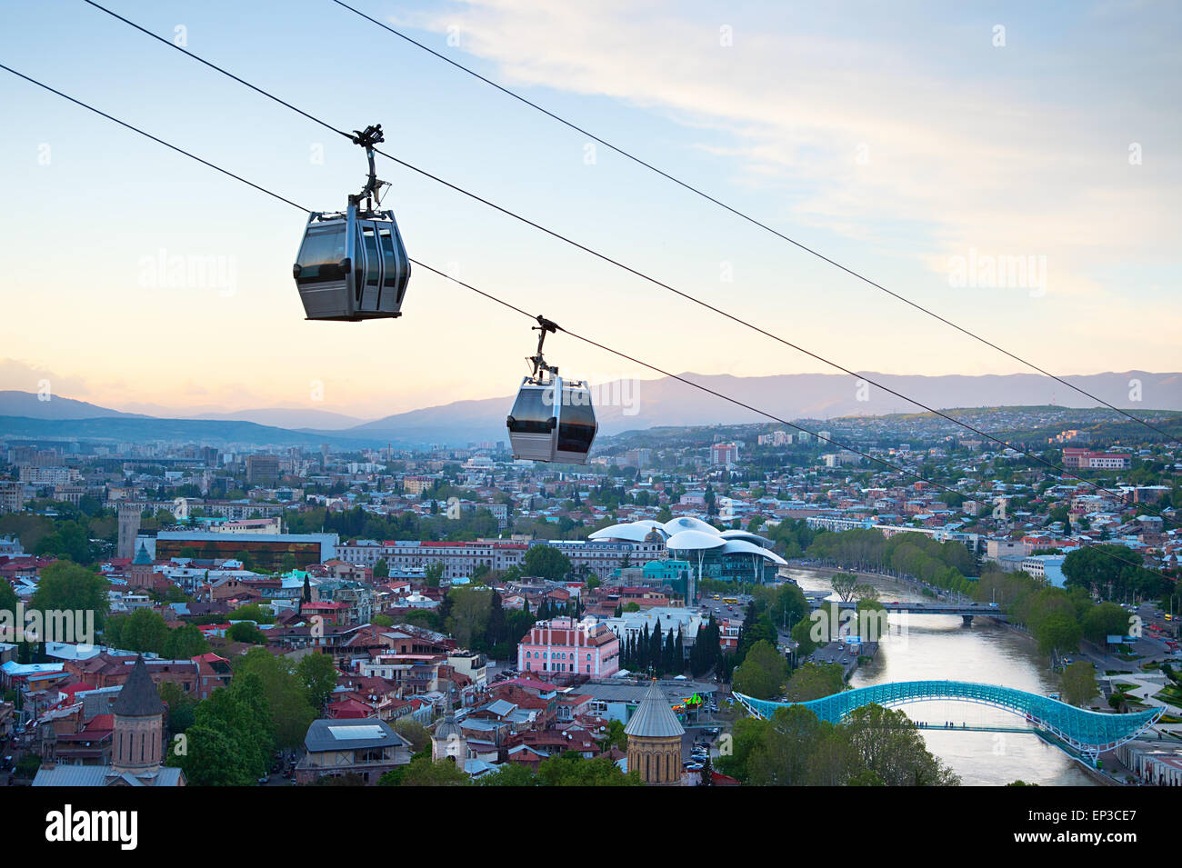 Cableway over the Tbilisi city at sunset. Georgia - Stock Image