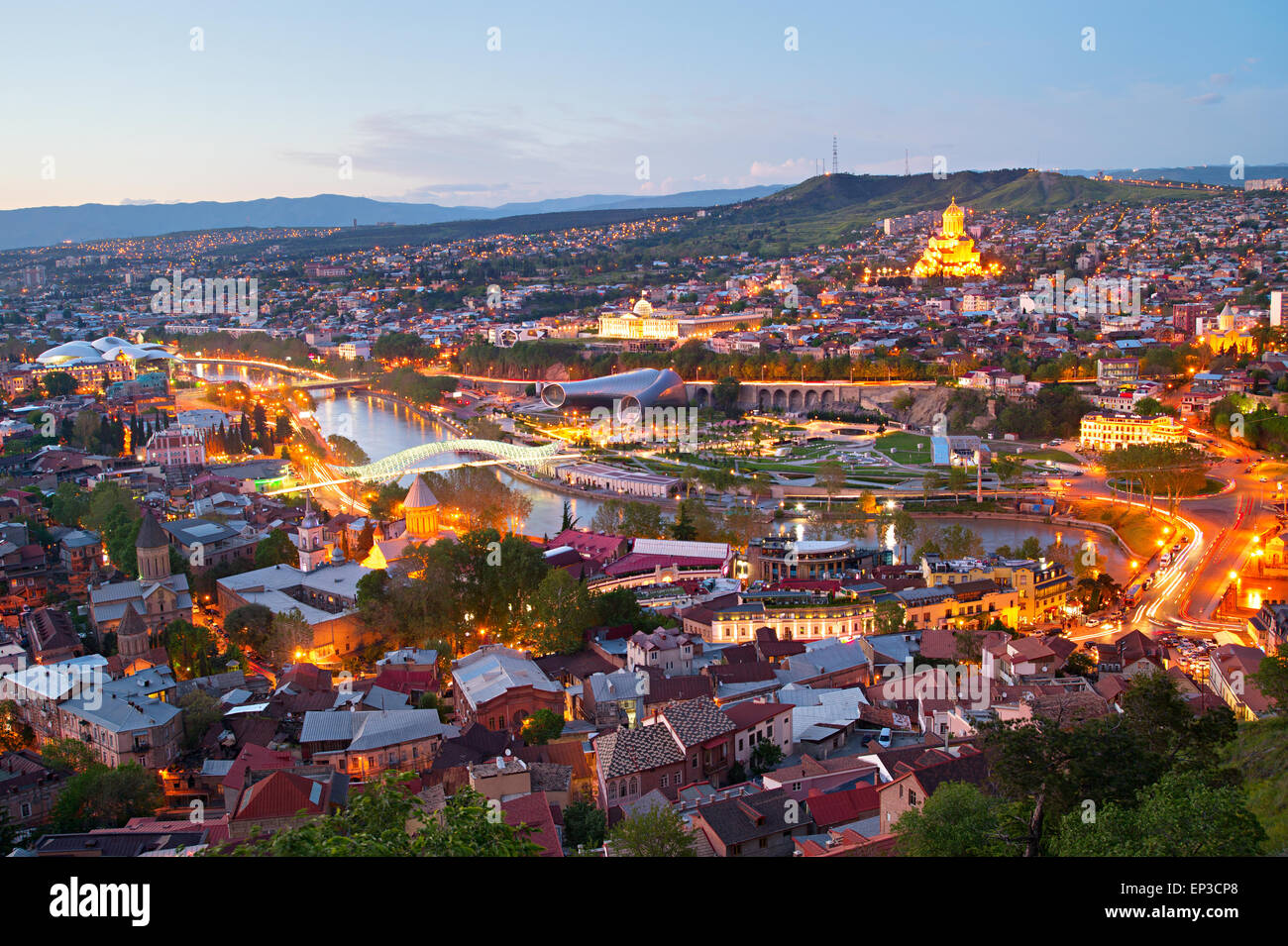 Skyline of Tbilisi from the viewpoint. Georgia Stock Photo