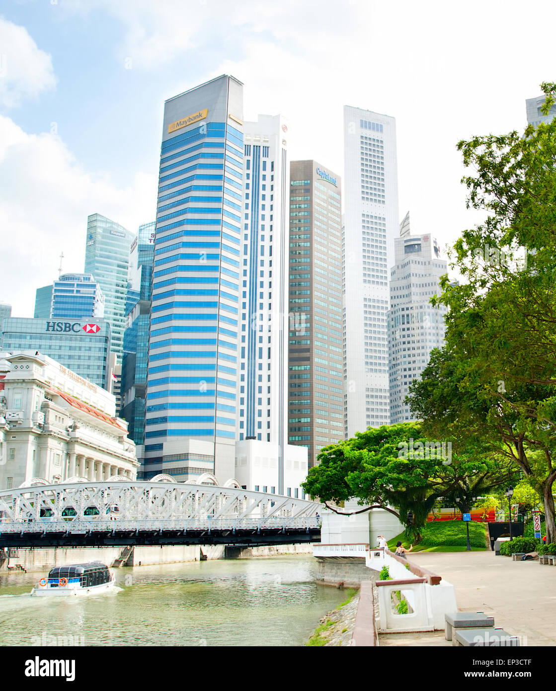 Downtown Core of Singapore. The Downtown Core is a 266-hectare urban planning area - Stock Image