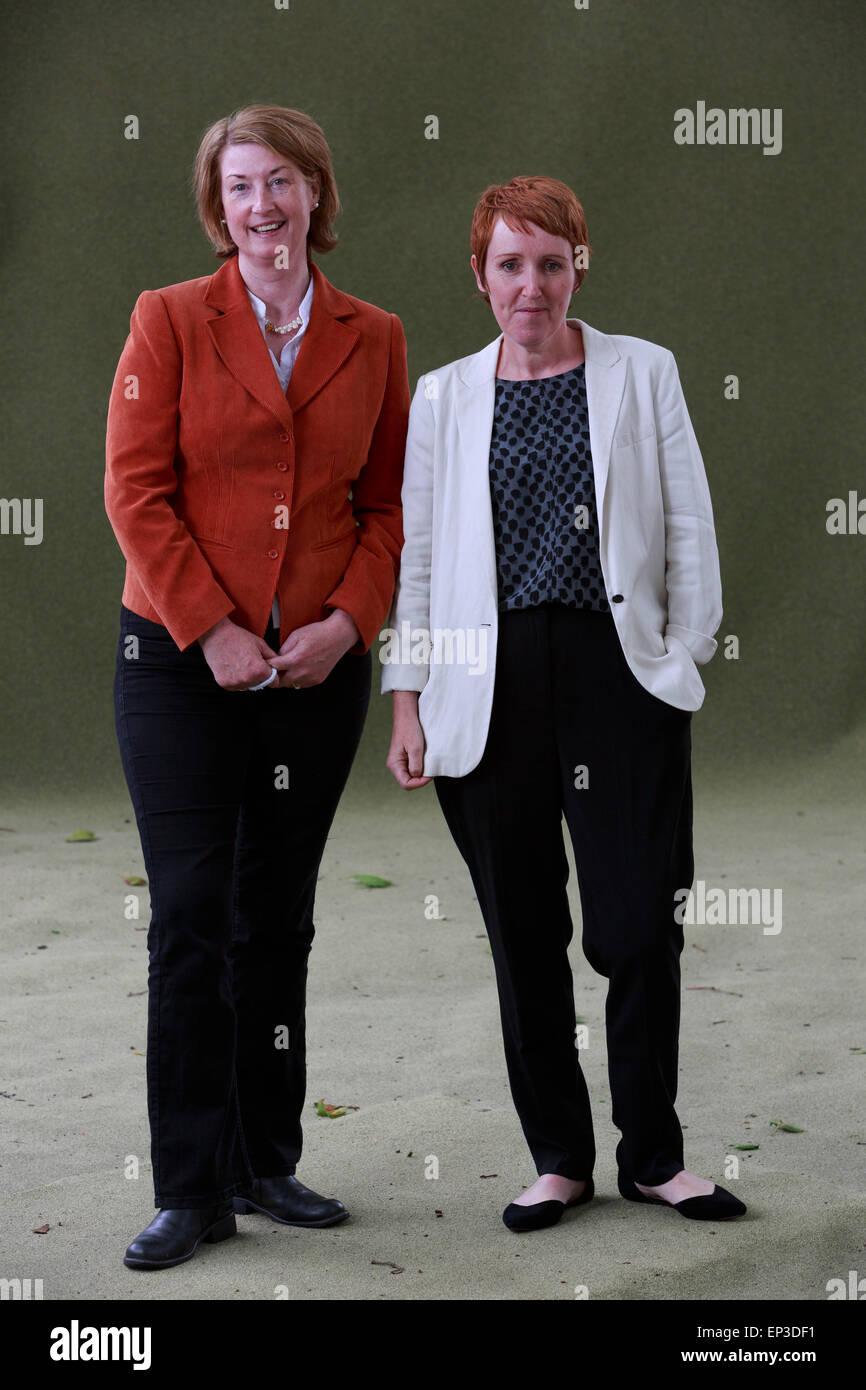 Laura Marney and Catherine O'Flynn Edinburgh International Book Festival 2014 photos taken in Charlotte Square - Stock Image