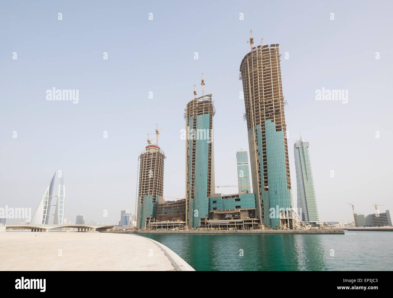 View of new office towers under construction at Bahrain Financial