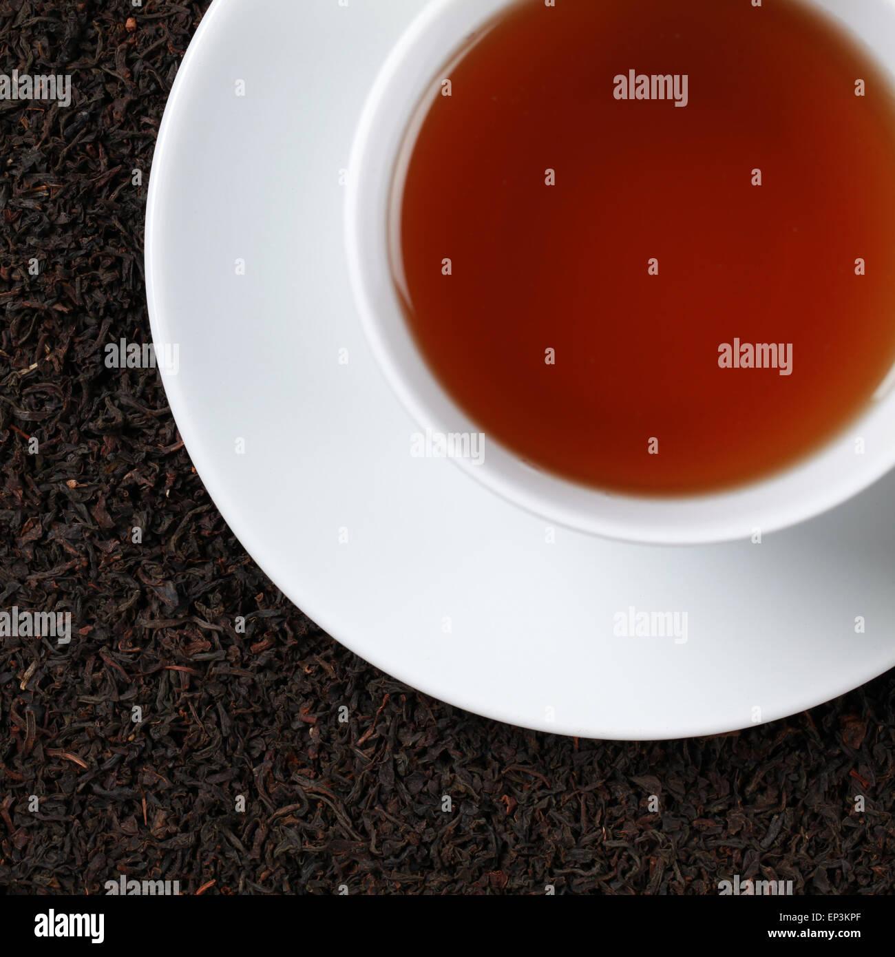 Schwarzer Tee von oben Stock Photo