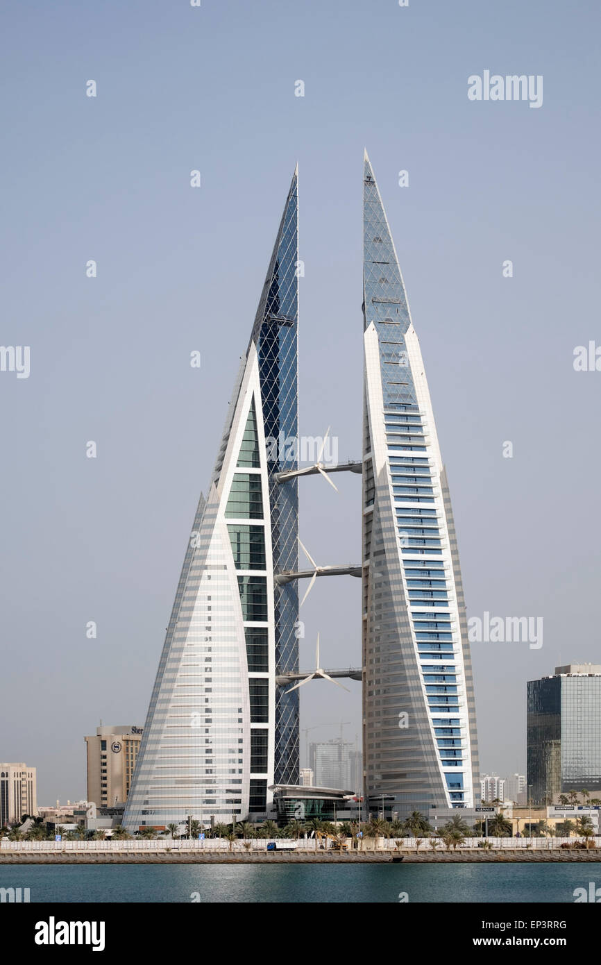 View of World Trade Center in Manama in Kingdom of Bahrain - Stock Image
