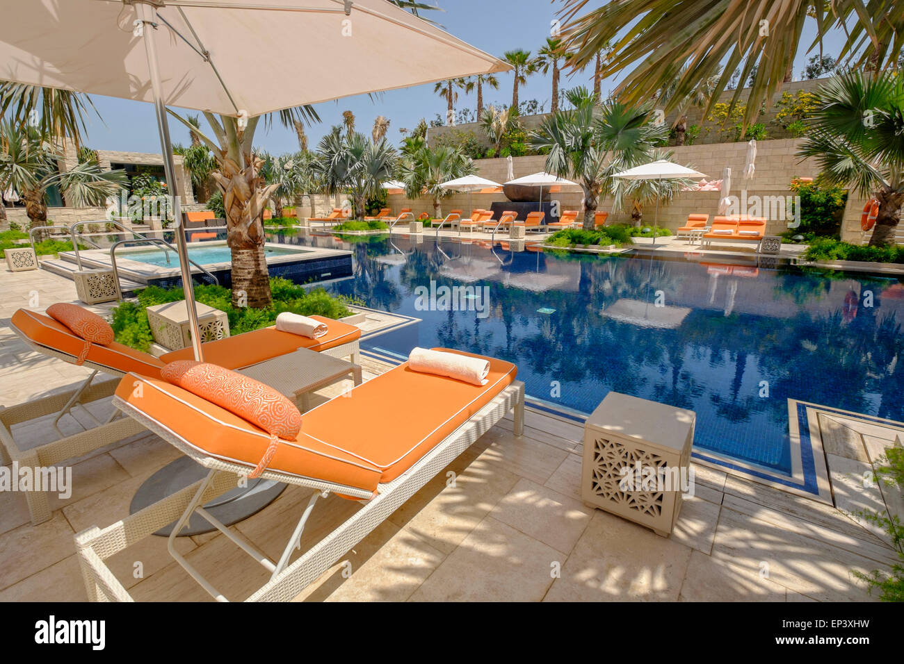 Swimming pool at new luxury  Four Seasons Hotel Bahrain Bay in Manama Kingdom of Bahrain Stock Photo