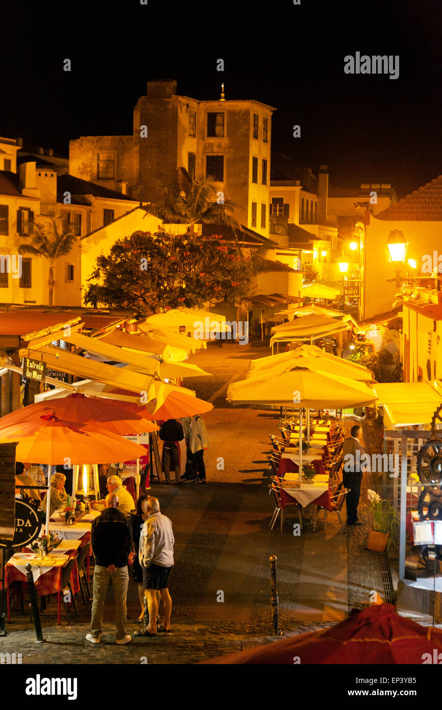 Restaurants and streets at night, Funchal old town ( Zona Velha ), Madeira, Europe - Stock Image