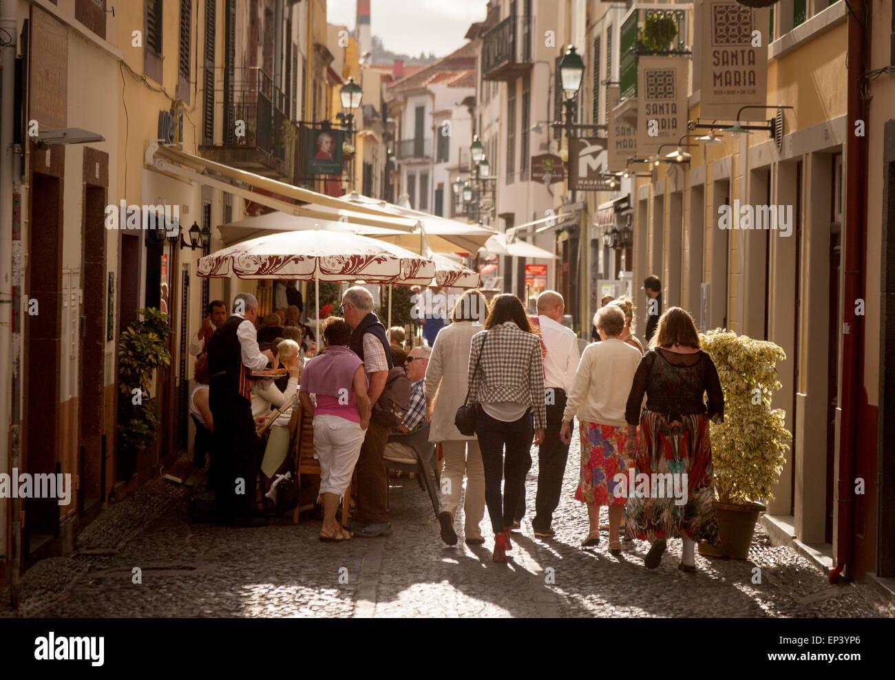 Tourists walking in Rua Santa Maria, the Old Town ( Zona Velha ), Funchal, Madeira, Europe Stock Photo