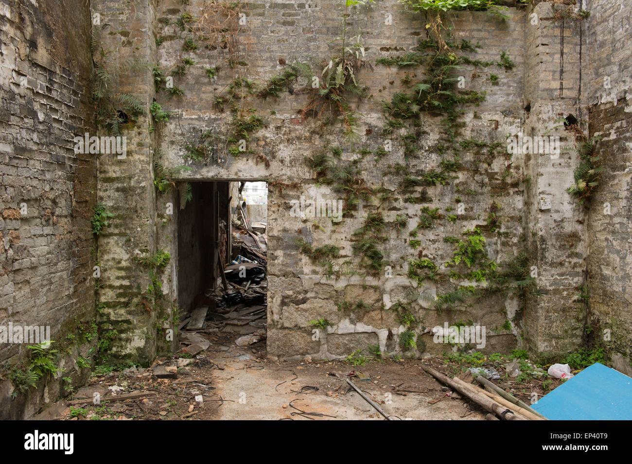Abandoned structure, Tai O fishing Village located on Lantau Island, Hong Kong, China - Stock Image