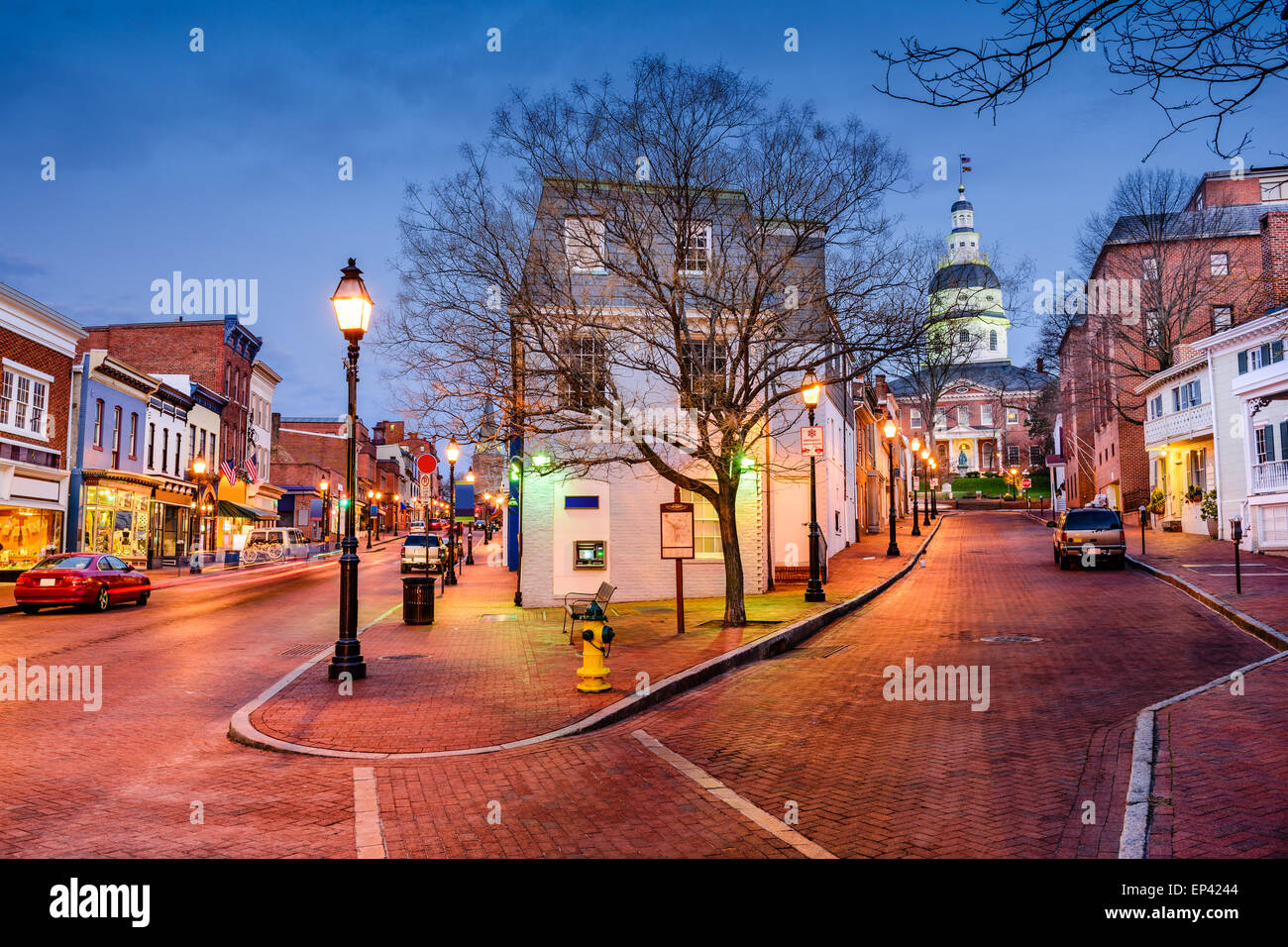 Annapolis, Maryland, USA downtown cityscape on Main Street. - Stock Image