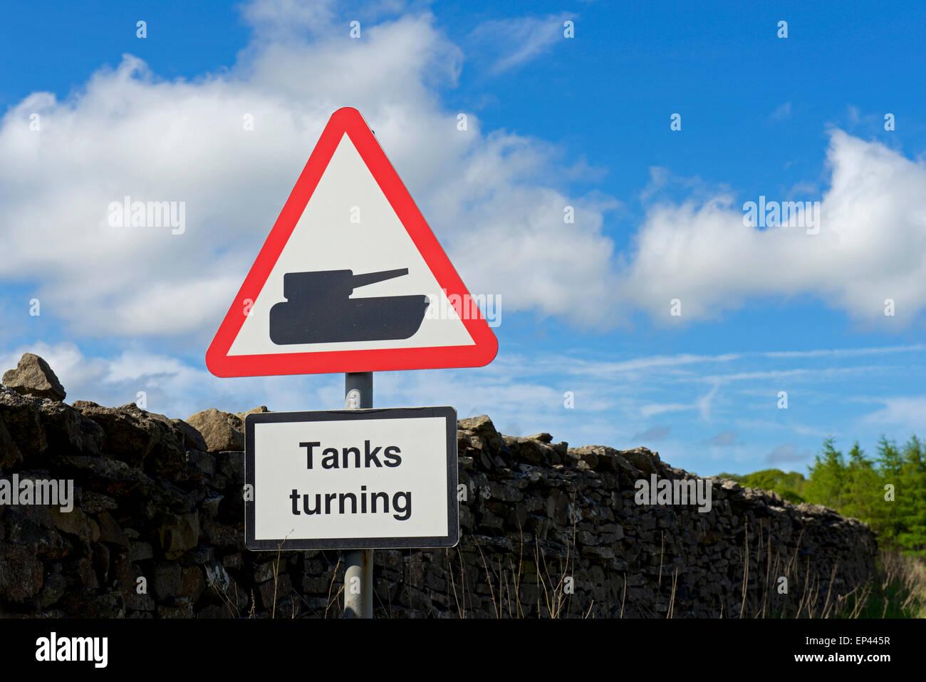 Road sign, Tanks Turning, near MoD land, North Yorkshire, England UK - Stock Image