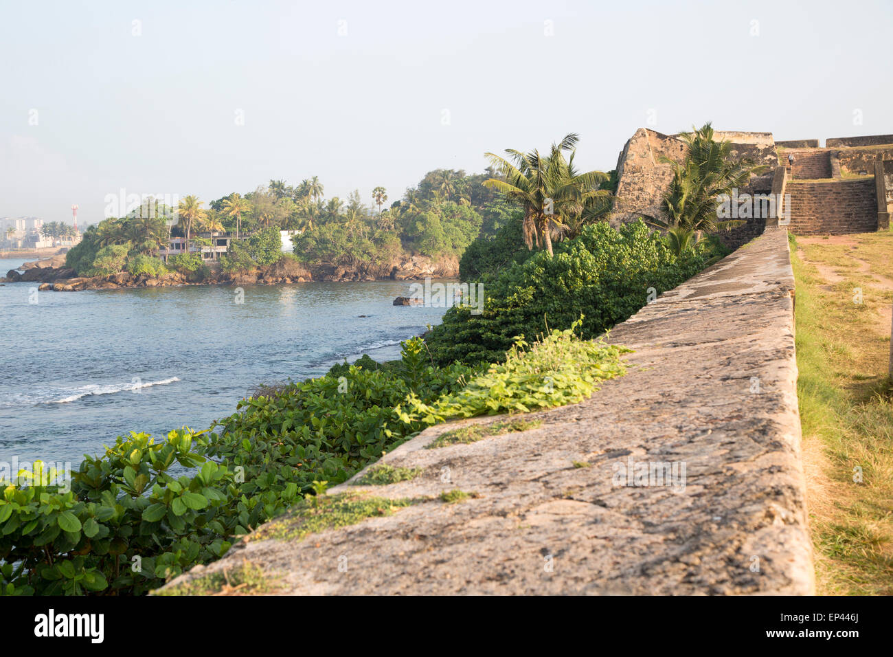 Coastal scenery and historic walls of the fort, Star Bastion, Galle, Sri Lanka, Asia - Stock Image