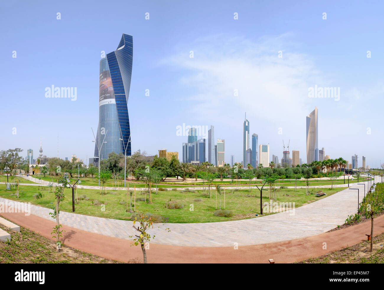 Skyline of Central Business District (CBD) from new Al Shaheed Park in  Kuwait City, Kuwait - Stock Image