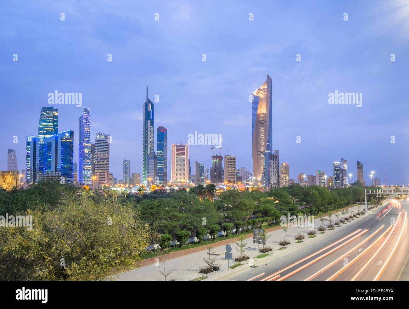 Skyline of Central Business District (CBD)  and First Ring Road motorway in Kuwait City, Kuwait - Stock Image