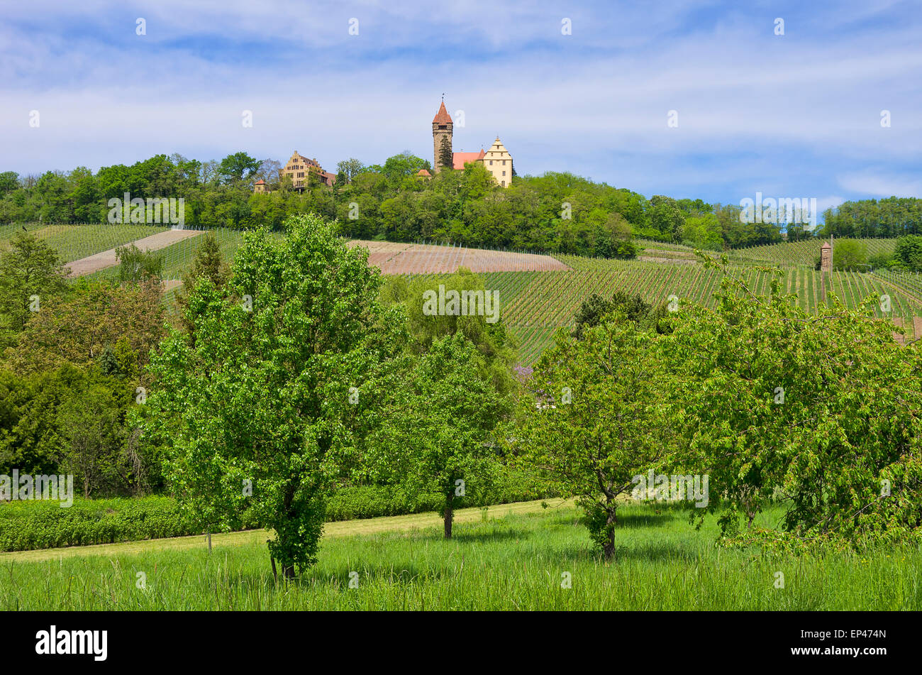 Rural idyll and castle, Schloss Stocksberg Castle near Heilbronn, Germany. Stock Photo