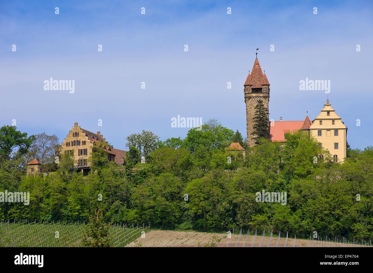 Schloss Stocksberg Castle in Stockheim near Heilbronn, Germany. Stock Photo