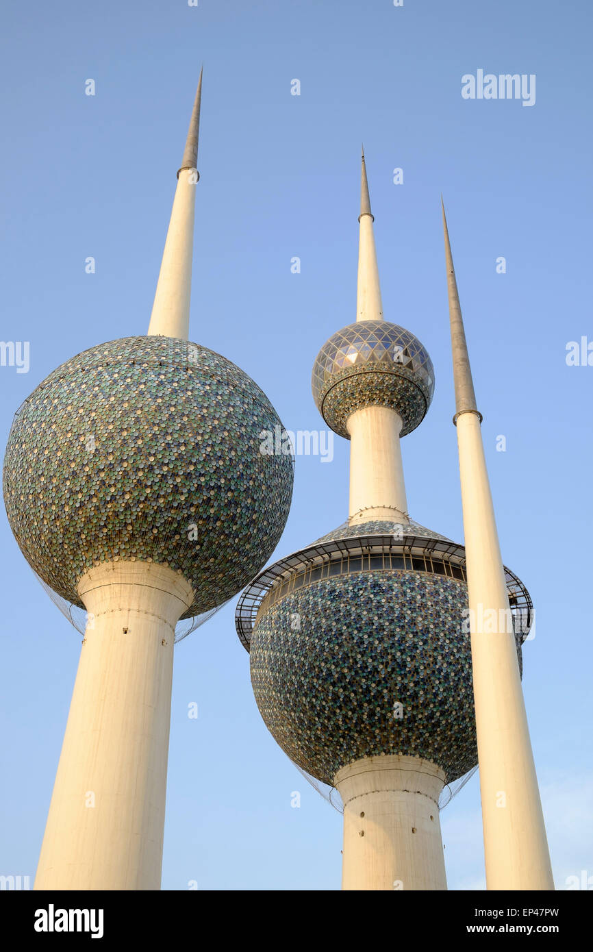 Detail of Kuwait Towers in Kuwait City, Kuwait. - Stock Image