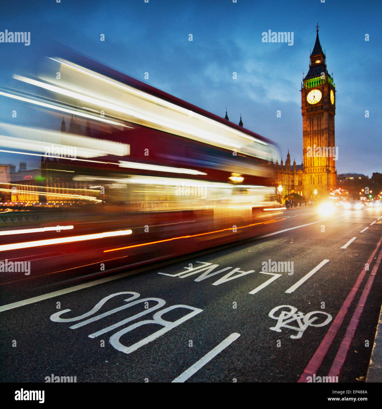 Light trails on Westminster Bridge with Big Ben in the background, London, UK Stock Photo